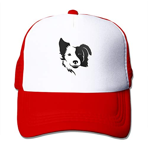 (AW-KOCP Border Collie Mesh Hats for Women Men, Baseball Cap with Adjustable Snapback Strap Red)