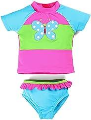 kavkas Baby Girl Bathing Suit Cute 2 Piece Swimsuit with Short Sleeve Rash Guard Ruffle Swimwear Sets (18M-6T)