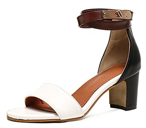 b5c80c141a51c Aisun Womens Casual Color-Contrasted Buckled Dressy Open Toe Block Mid Heel  Ankle Strap Sandals