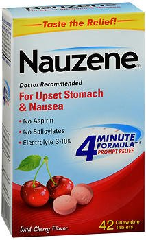 Nauzene Upset Stomach & Nausea Chewable Tablets Wild Cherry Flavor - 42 ct, Pack of 4