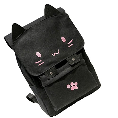 Price comparison product image Sprite Beat Cute Canvas Cat Print Pink Backpack School Bag Light weight Book bags