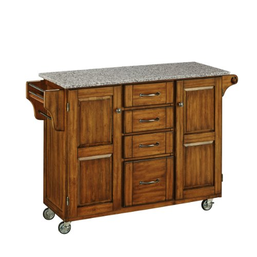 Home Styles 9100-1063 Create-a-Cart 9100 Series Cuisine Cart with Salt and Pepper Granite Top, Warm Oak, 52-1/2-Inch