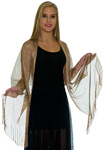 Shawls and Wraps for Evening Dresses, Wedding Shawl Wrap Fringes Scarf for Women Metallic Beige Gold