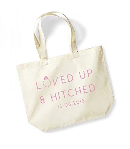 Loved Up and Hitched - Personalised Date - Large Canvas Fun Slogan Tote Bag Natural/Pink