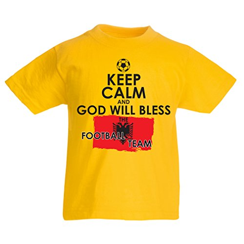 Kids Boys/Girls T-Shirt God Will Bless The Albanian National Football Team - Championship, World Cup Soccer Team Fan Shirt (12-13 Years Yellow Multi Color)