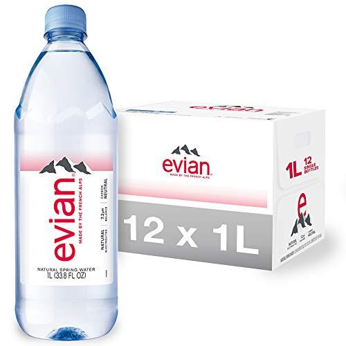 evian Natural Spring Water, Naturally Filtered Spring Water in Large Bottles, 33.81 Fl Oz