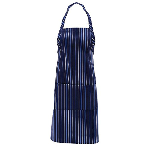 34 Coat Apron (Chef Works Adjustable Bib Apron Navy Blue White Stripe 40