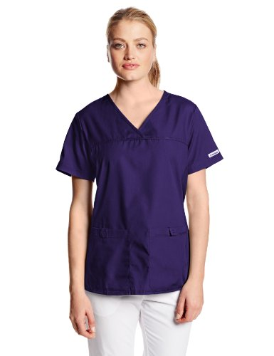 Cherokee Women's Scrubs Flexibles Sporty V-Neck Knit Panel Top, Grape, Medium