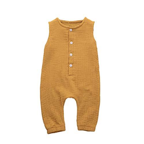 Huaze Gift Infant Baby Boys&Girls Cotton Linen Romper Summer Solid Color Ruffles Vest Comfortable Jumpsuit Clothes (Yellow, 12-18 Months)