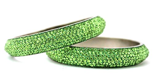 Hyderabad Jewelry 7L8ssPair Indian Handmade Fashion Jewelry Lime Green 7 Line Lac Crystal Metal Bangle Bracelet 2 Pieces Set (199.4)