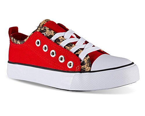 Twisted Girl's Canvas KIX Double Upper Lo-Top Sneaker - RED/Leopard, Size 3]()