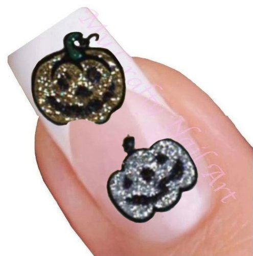 Glitter Halloween Pumpkin Adhesive Art Nail Stickers (Halloween Nail Stickers Uk)