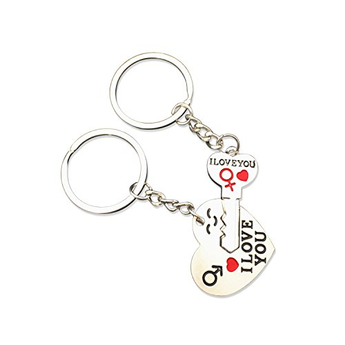I Love You Matching Keychain | Funny Alloy Key to Heart Key Chain| Cute Valentines Day Gifts for Couples