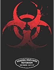 """Hexagonal Graph Paper Notebook 120 Pages – 8.5"""" X 11"""": Unicode Biohazard Symbol Design For Organic Chemistry Science Composition Notebook Biochemistry Student Lab Note Book"""