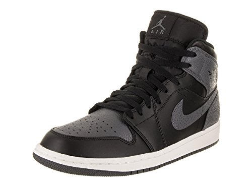 Black Jordan Shoes (Jordan Nike Men's Air 1 Mid Black/Dark Grey Summit White Basketball Shoe 10 Men US)