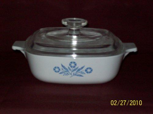Corning Ware Pyrex Cornflower Blue Casserole Baking Dish w/Lid 1 QT