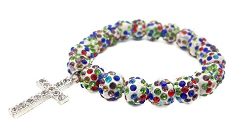 Clothes Stores For Teens - Nazareth Store Religious Cross Bracelet Christian Colorful Beads Bangle Bracelet Multi color Sacred Gift for Teen Girls Jewelry for Women & Men