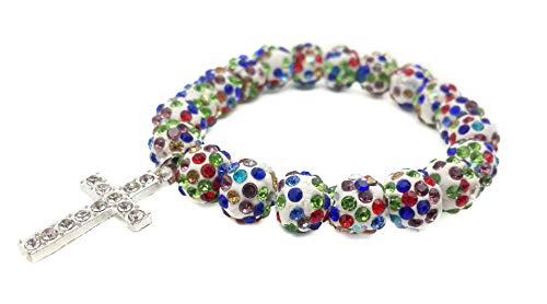 Nazareth Store Religious Cross Bracelet Christian Colorful Beads Bangle Bracelet Multi color Sacred Gift for Teen Girls Jewelry for Women & Men