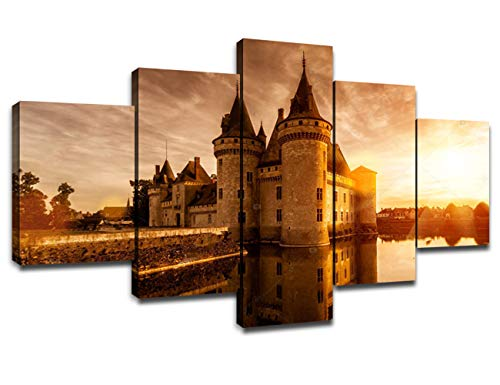 (Chicicio Old French Renaissance Castle Framed Wall Art Decor Vintage Art Paintings Canvas Home Decoration Sully-sur-Loire Chateau Wall Picture House Artwork Prints Poster Ready to Hang(60''Wx32''H))