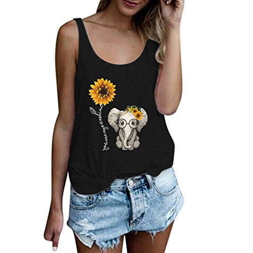 〓COOlCCI〓Women's Casual Sleeveless Sunflower Elephant Casual Tank Tops T Shirts Loose Fit Tops Blouse Vest Camisoles Black (Roxy Skate Shoes)