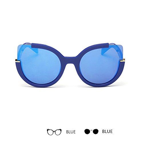 Sol Gafas De TIANLIANG04 Azul Mujer Gafas Sol Volver Blue Vintange Espejo De Unisex De Gafas nPgzqwrPx
