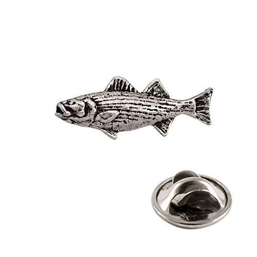 - Striped Bass Fish Pewter Mini Lapel Pin, Brooch, Jewelry, S050MP