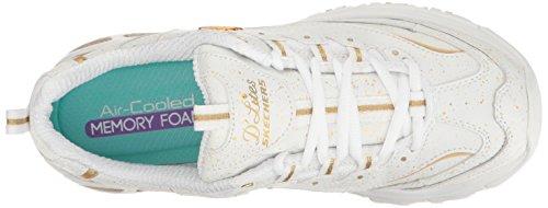 Sneachers Sport Mujeres Dlites Memory Foam Con Cordones Sneaker Blanco / Dorado