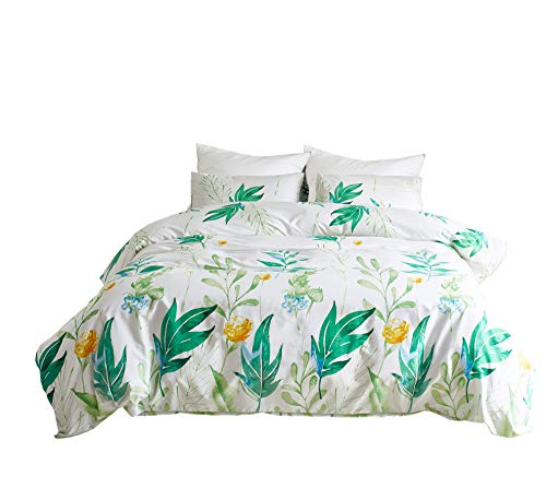 M&Meagle Floral Duvet Cover Set,Green Leaves Print Pattern-King Size(3Pcs,1 Duvet Cover 2 Pillowcases)