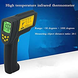 Jklnm Digital Infrared Thermometer LCD Non Contact Professional High Temperature Pyrometer IR Instant-Read Temp Alarm Adjustable Emissivity for Cooking Food Kitchen Oven Industry Etc.