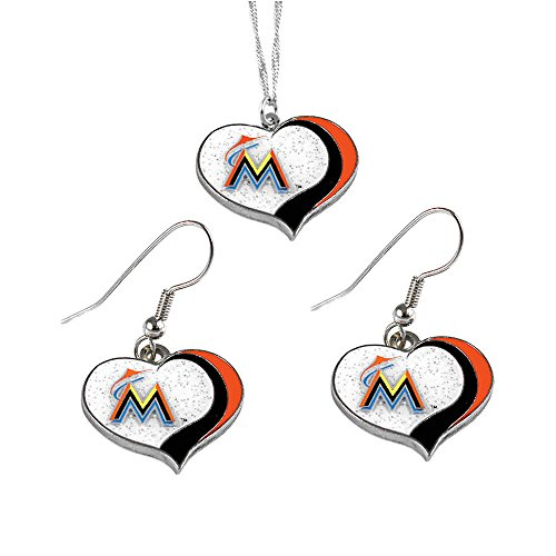 Miami Marlins MLB Sports Team Logo Charm Gift Glitter Heart Necklace and Earring Set (Steel Mlb Stainless Necklace)