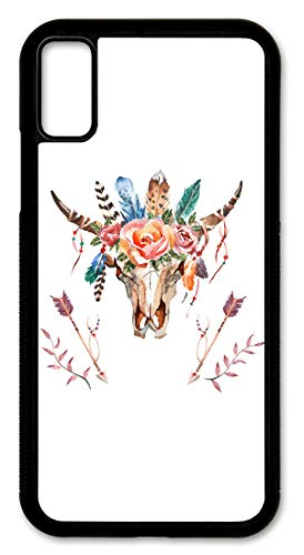 (iPhone XR Case, Slim Fit - Hard Shell Plastic - Full Protective Cover for Apple iPhone XR - Bull Skull Flowers & Arrows)