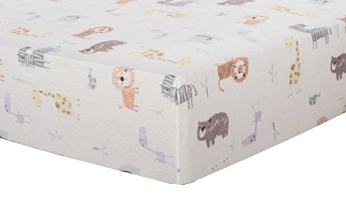 Safari Flannel - Trend Lab Deluxe Flannel Fitted Crib Sheet, Crayon Jungle