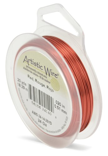 Artistic Wire 24-Gauge Red Wire, 20-Yards