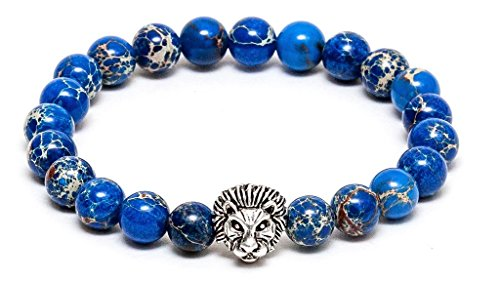 ZENGER Jewelry Mens Lion Head Beaded Stretch Bracelet - 8mm Blue Sediment, Silver, - Blue Bracelet Beaded Stretch