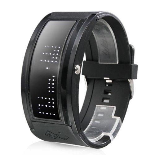 Reloj Pulsera Futurista de LED Blanco con Correa Negra: Amazon.es: Relojes