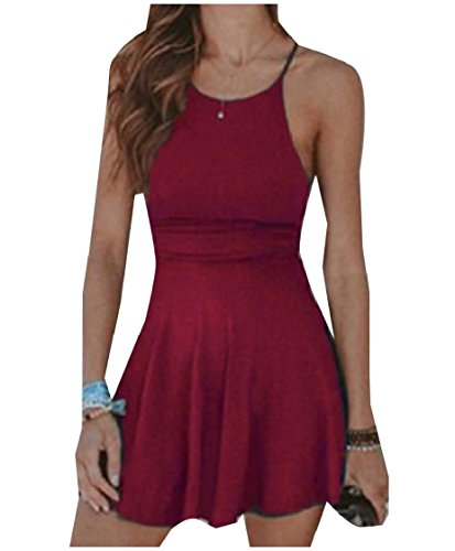 Sling Dress Neck Coolred Wine Solid Tank O Stretch WomenSummer Colored Red 5ZZBgxHq