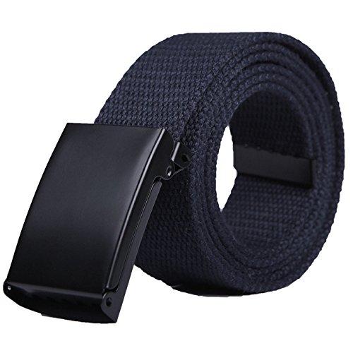 HDE Mens Military Web Belt Canvas Adjustable Style - Blue Belt Buckle