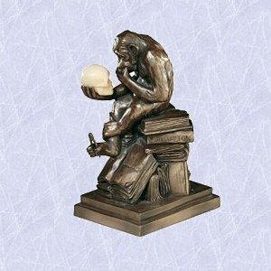 darwin monkey statue ape sculpture w skull new decor .(The Digital Angel (Ape Statue)