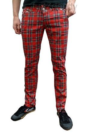 Fuzzdandy Mens Tartan Drainpipe Pants Red Check Skinny
