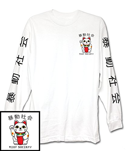 Japanese Fashion Clothing - Riot Society Maneki-Neko Japanese Lucky Cat Mens Long Sleeve T-Shirt - S