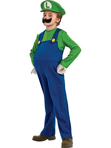 Disguise Boy's Nintendo's Super Mario Brothers Luigi Deluxe Costume, Blue, Large]()