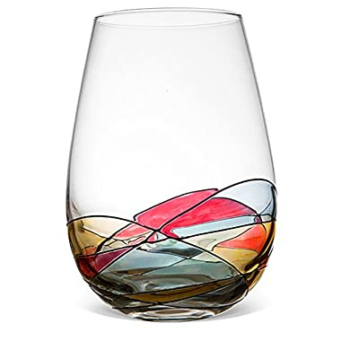 ANTONI BARCELONA Stemless Wine Glass - Unique Hand Painted Drinking Glasses, Drinkware Essentials, Wine Tumbler, Glassware Set of 1 - Gifts Ideas for Women, Men, Birthday, Wedding, Mom, Dad, Her, Him