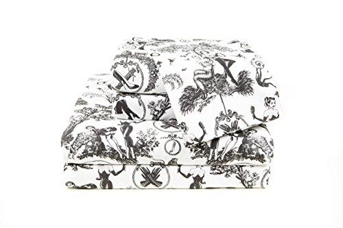 Black and White Toile Sheets, Fetish al Fresco Print Cotton Bedding Sheet Set (Cal King) - Black And White Toile Bedding