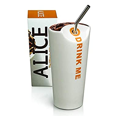 The Alice Cup: The Ultimate Milkshake Cup, White Ceramic Drinking Carafe with Straw Hole, Half-Moon Opening, and Stainless Steel Straw, Max Brenner's Signature Cup