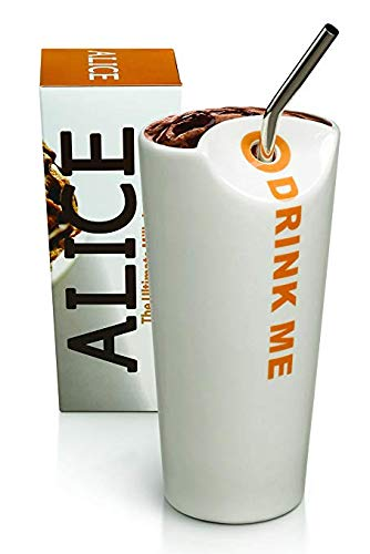 The Alice Cup: The Ultimate Milkshake Cup, White Ceramic Drinking Carafe with Straw Hole, Half-Moon Opening, and Stainless Steel Straw, Max Brenner's Signature Cup - Moon White Cup