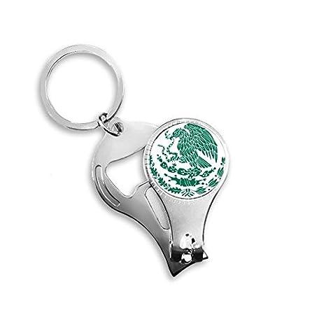 Llavero de metal con diseño de símbolo nacional de México con llavero multifunción para abridor de botellas de uñas, llavero de coche, mejor regalo: ...