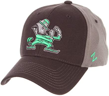 d8756a4043dcf Amazon.com   Zephyr University of Notre Dame Fighting Irish ND Grey Swell  DHS Leprechaun Adult Mens Fitted Baseball Hat Cap Size Medium Large    Sports   ...