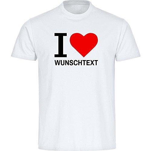 T-Shirt Classic I Love mit Wunschtext weiß Herren Gr. S bis 5XL