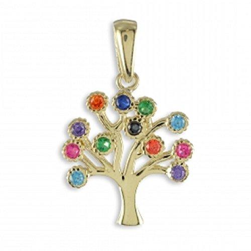 ASS en or 585Femme Pendentif Amulette Arbre de Vie Arbre généalogique Multicolore Zirconium-1,4g
