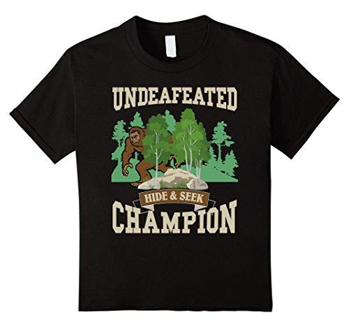 Kids Funny Bigfoot Yeti Undefeated Hide & Seek Champion T-Shirt 10 Black